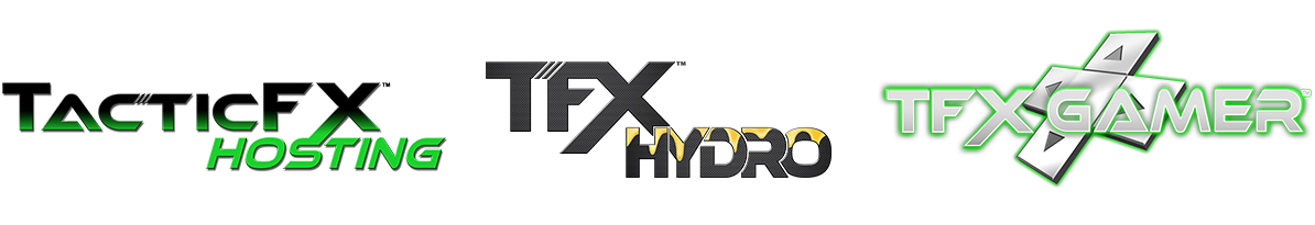 A Horizontal row of TacticFX Brand logos including TFX Host, TFX Hydro, and TFX Gamer.
