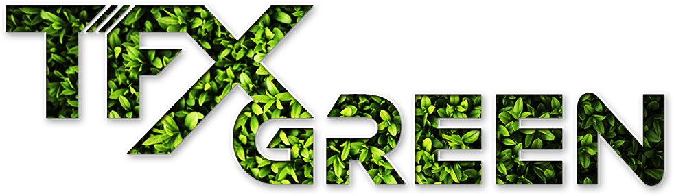 TFX Green Logo with green leaf patterns.