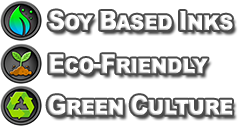 "Image containing eco-friendly icons which says ""Soy Based Inks, Eco-Friendly, and Print Recycling."""