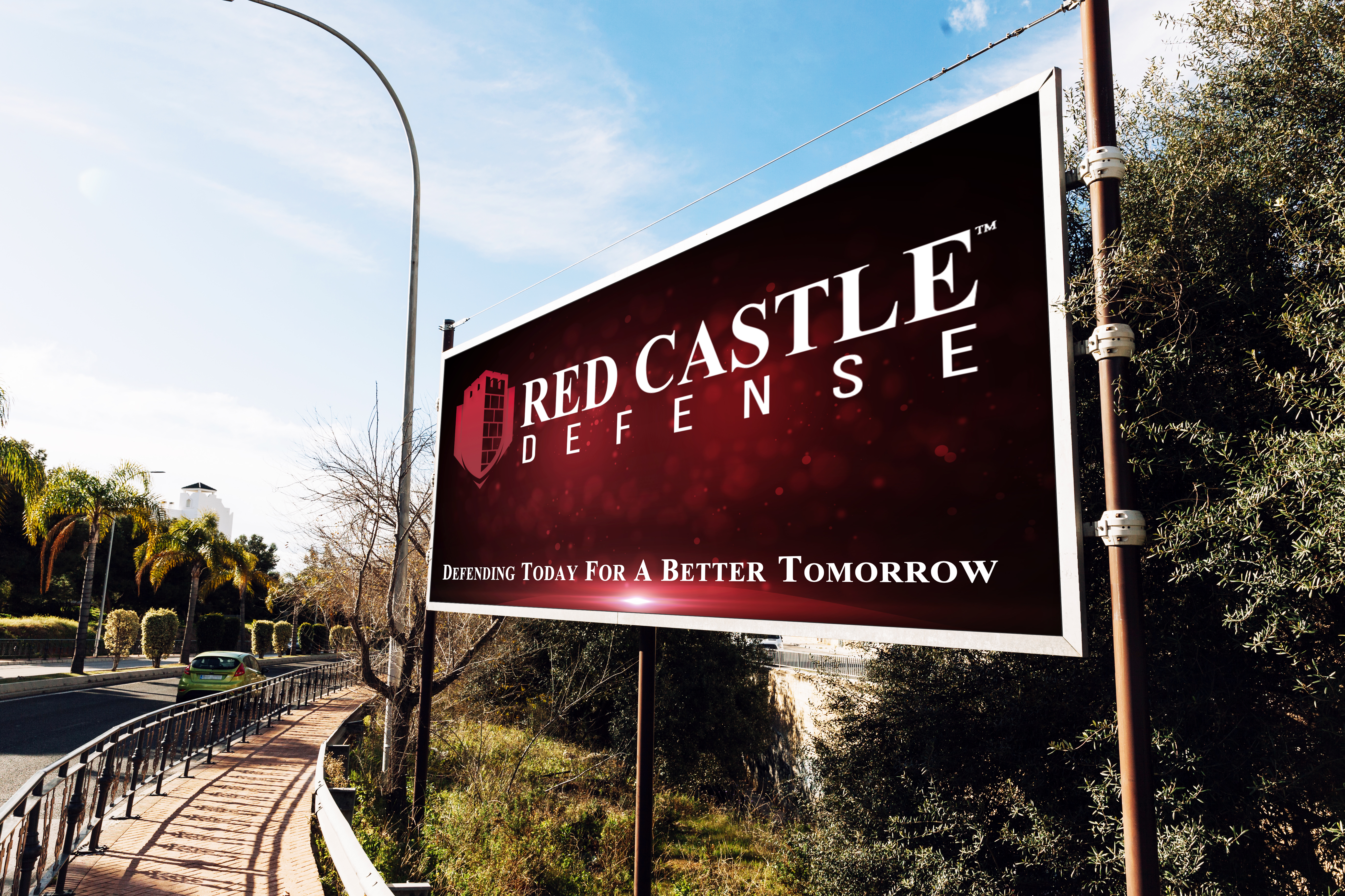 Bill Board display of the Red Castle Defense logo located in Texas
