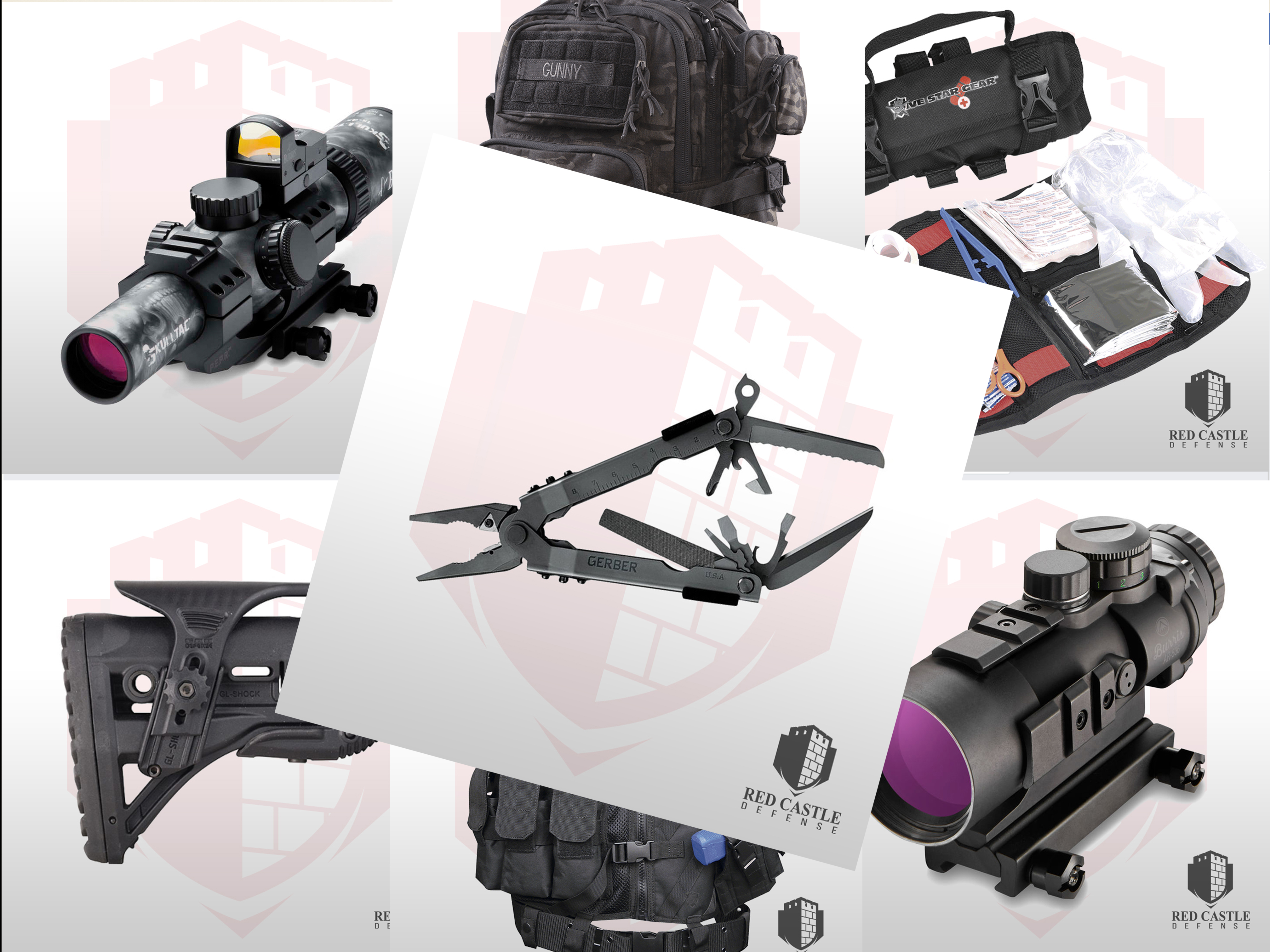 Image collage of Red Castle Defense survival product images