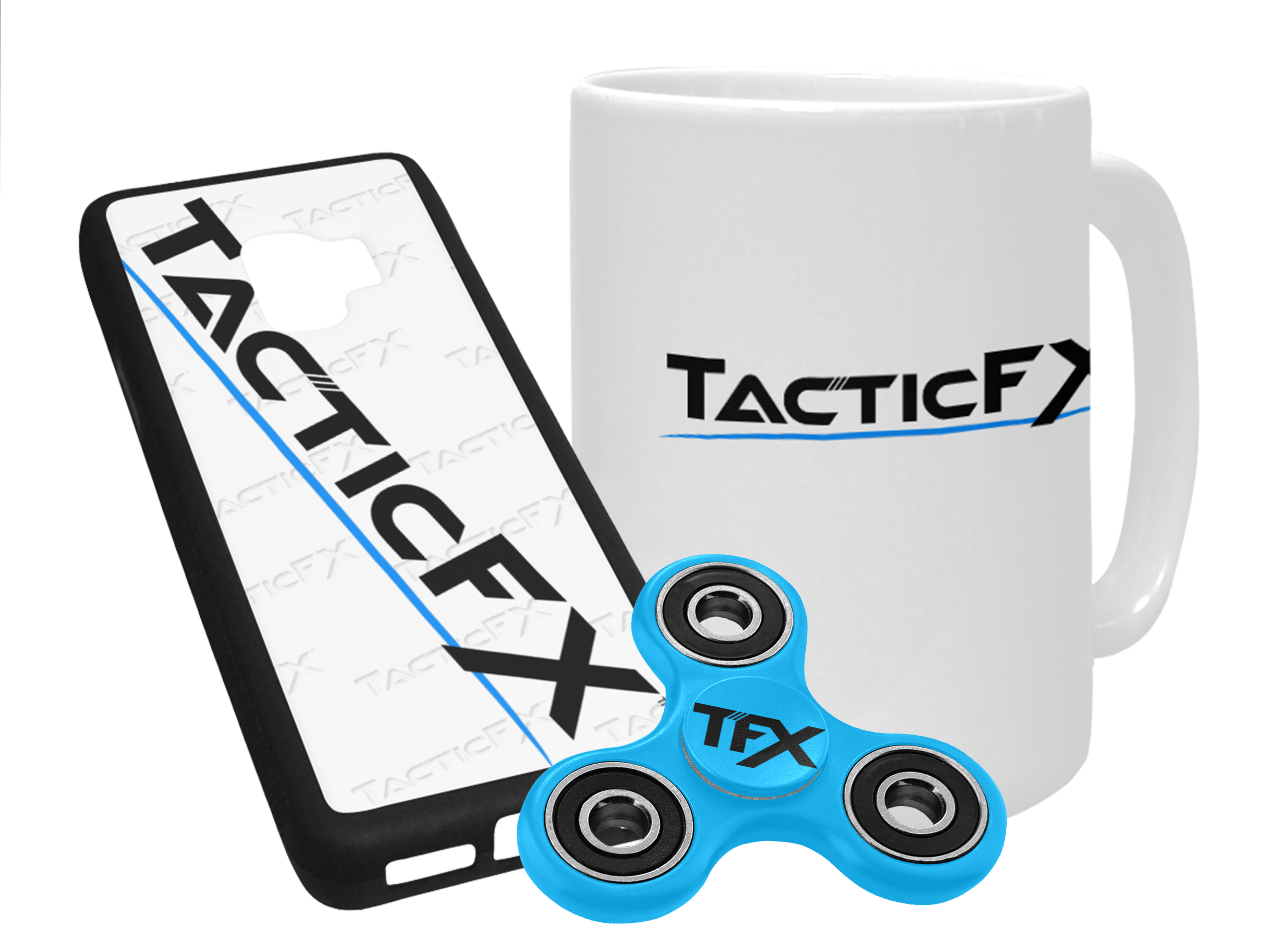 TacticFX promotional items including a branded coffee mug, phone case, and fidget spinner.